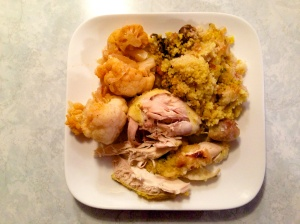 Plate with chicken and cauliflower
